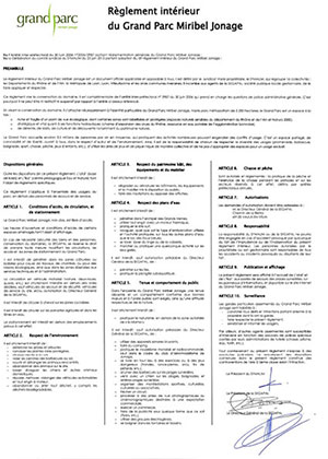 Rules and regulations of the Grand Parc