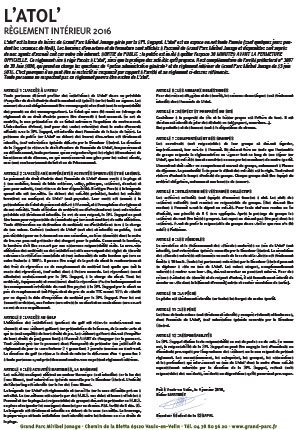 Rules and regulations of L'atol'
